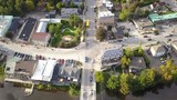 Elora, Ontario, Canada 2017 Aerial Drone 4k Footage of Car Driving in City Center - 227721653