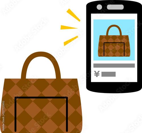 スマートフォンでのバッグの売買画面とバッグ