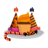 dish with sweet candies and hats