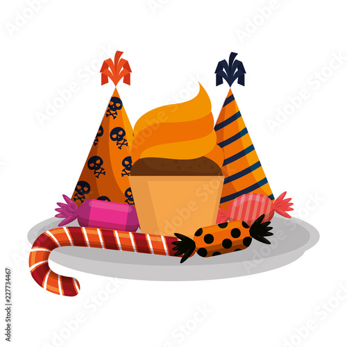 Sticker dish with sweet candies and hats