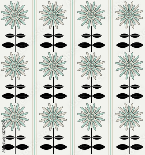 Green, gray and black flowers pattern with vertical stripes - 227736000