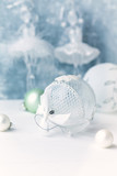 White Christmas Balls on wooden background.  Christmas background. Copy space. Close-up - 227742075