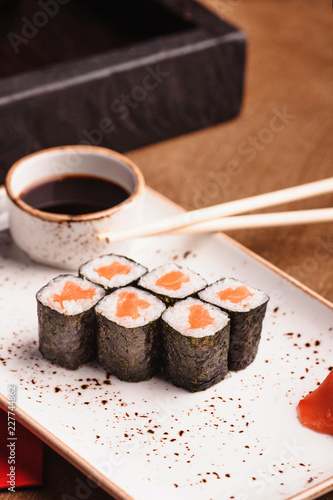 Sticker sushi on a plate