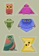 cute colorful owls fit in geometric shapes. - 227748648