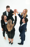 group of business people shows his success ,hands clasped together. - 227750674