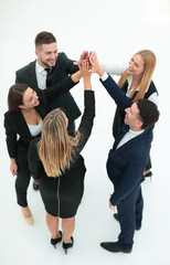 group of business people shows his success ,hands clasped together.