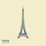 Eiffel tower icon in flat style with scuffing effect