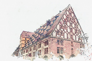 A watercolor sketch or an illustration. View of Frauenkirche church tower on main square in Nuremberg, Germany.