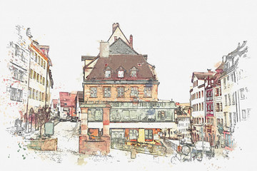 A watercolor sketch or an illustration of traditional German architecture in Nuremberg in Germany.