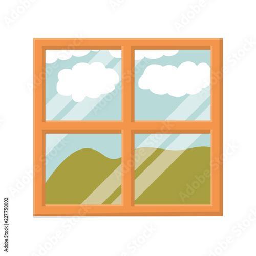 kolor tła krajobrazu gór za oknem