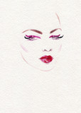 beautiful woman. fashion illustration. watercolor painting - 227759226