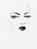 beautiful woman. fashion illustration. watercolor painting - 227759259