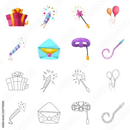 Isolated object of party and birthday sign. Collection of party and celebration stock vector illustration. - 227761063