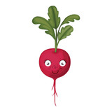 white background with realistic red beet caricature with stem and leaves - 227762276