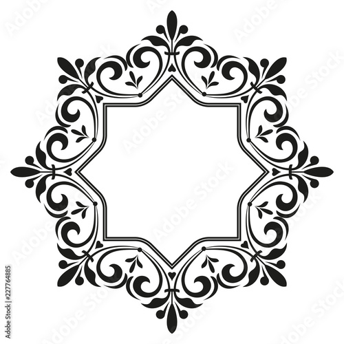 Decorative frame Elegant vector element for design in Eastern style, place for text. Floral black border. Lace illustration for invitations and greeting cards - 227764885