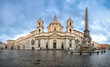Quadro Panorama of Piazza Navona square with Fontana dei Fiumi fountain and Sant'Agnese in Agone church, Rome, Italy