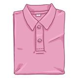 Vector Single Cartoon Illustration - Folded Pink Polo Shirt