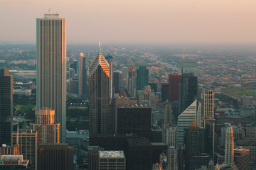 Chicago cityscape skyscrapers at sunset aerial view