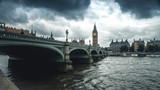 Panoramic view na Big Ben, London, UK. A view of the popular London landmark, the clock tower known as Big Ben, set against a blue and cloudy sky.