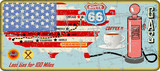grunge route 66 gas station sign and road map,USA flag,retro grungy vector illustration