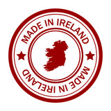 Red stamp with map of Ireland