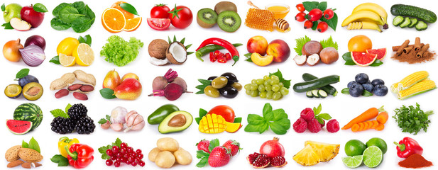 Collection of healthy food on white background © valery121283