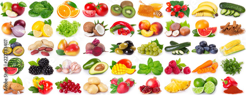 Collection of healthy food on white background