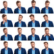 Leinwandbild Motiv collage of 16 images of cool young smart casual man