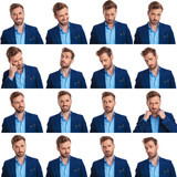 collage of 16 images of cool young smart casual man - 227784412