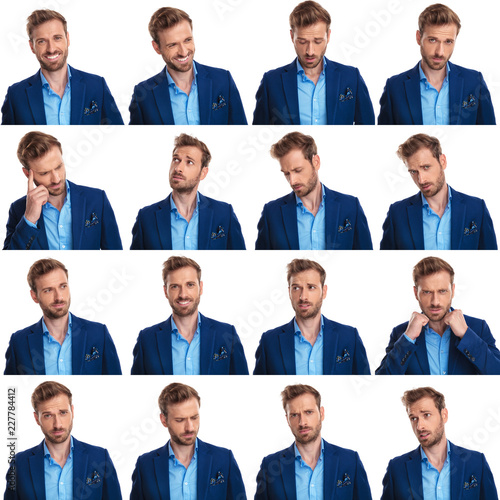 Leinwanddruck Bild collage of 16 images of cool young smart casual man