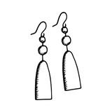Women's earrings sketch icon. isolated object