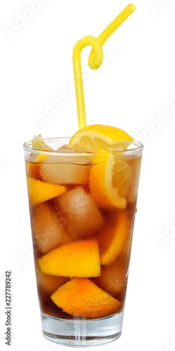 Foto Murales Cola drink with ice cubes and sliced orange in a highball glass