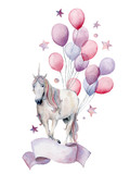 Watercolor fantasy label with unicorn and air ballons. Hand painted white horse, air balloons, stars isolated on white background. Pastel decor collection. Holiday illustrations. - 227797490