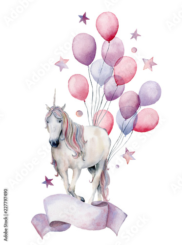 Leinwandbild Motiv Watercolor fantasy label with unicorn and air ballons. Hand painted white horse, air balloons, stars isolated on white background. Pastel decor collection. Holiday illustrations.