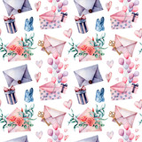 Watercolor birthday decor big seamless pattern with envelope and gift box. Hand painted air balloons, bouquet of flowers, key isolated on white background. Holiday illustrations. - 227797622