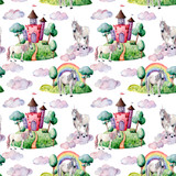 Watercolor fairy tale big pattern witn unicorn, cloud and castle. Hand painted green trees and bushes, castle, rainbow isolated on white background. Illustration for design, print. - 227797668