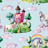 Watercolor fairy tale pattern witn unicorn, cloud and castle. Hand painted green trees and bushes, castle, rainbow isolated on pastel blue background. Illustration for design, print. - 227797692