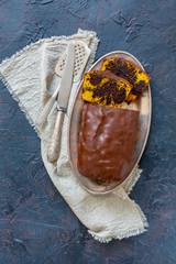 Homemade pumpkin chocolate cake.