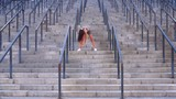 The girl is making morning exercise on the stadium - 227802424