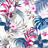 Trendy vector seamless beautiful artistic summer tropical - 227803434