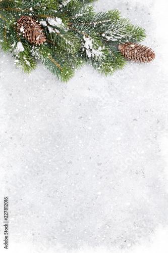 Leinwandbild Motiv Christmas fir tree branch covered by snow card