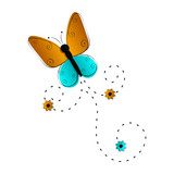 Cute butterfly flying icon. Vector illustration design - 227818041