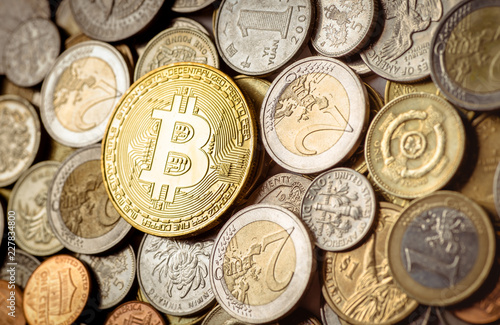 Bitcoin With Money Coins Background Cryptocurrency Banking Of Euro
