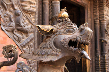 Translation: The lion like statues around Bhaktapur Durbar Square