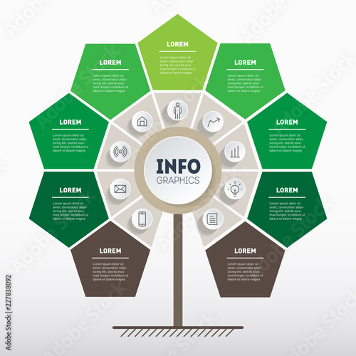 Green infographics  Tree of development and growth of the eco