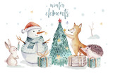 Watercolor gold Merry Christmas illustration with snowman, christmas tree , holiday cute animals fox, rabbit and hedgehog . Christmas celebration cards. Winter new year design.