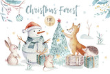 Watercolor gold Merry Christmas illustration with snowman, christmas tree , holiday cute animals fox, rabbit and hedgehog . Christmas celebration cards. Winter new year design. - 227838641