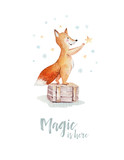Watercolor gold Merry Christmas illustration with snowman, christmas tree , holiday cute animals fox, rabbit and hedgehog . Christmas celebration cards. Winter new year design. - 227838838