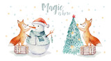 Watercolor gold Merry Christmas illustration with snowman, christmas tree , holiday cute animals fox, rabbit and hedgehog . Christmas celebration cards. Winter new year design. - 227838888