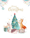 Watercolor gold Merry Christmas illustration with snowman, christmas tree , holiday cute animals fox, rabbit and hedgehog. Christmas celebration cards. Winter new year design. - 227839019